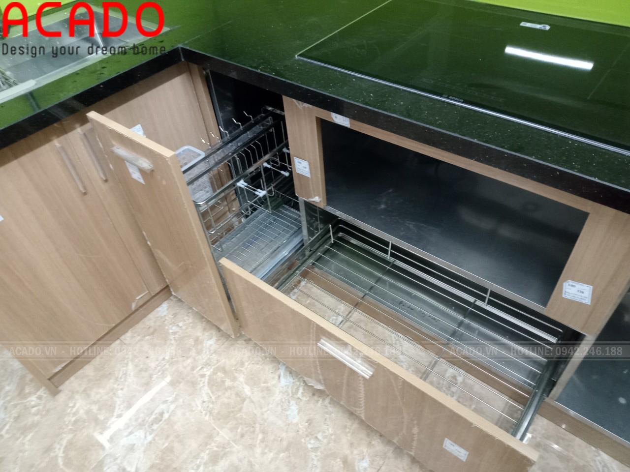 Tủ bếp thùng Inox chắc chắn, chống nước tuyệt đối - Nội thất ACADO