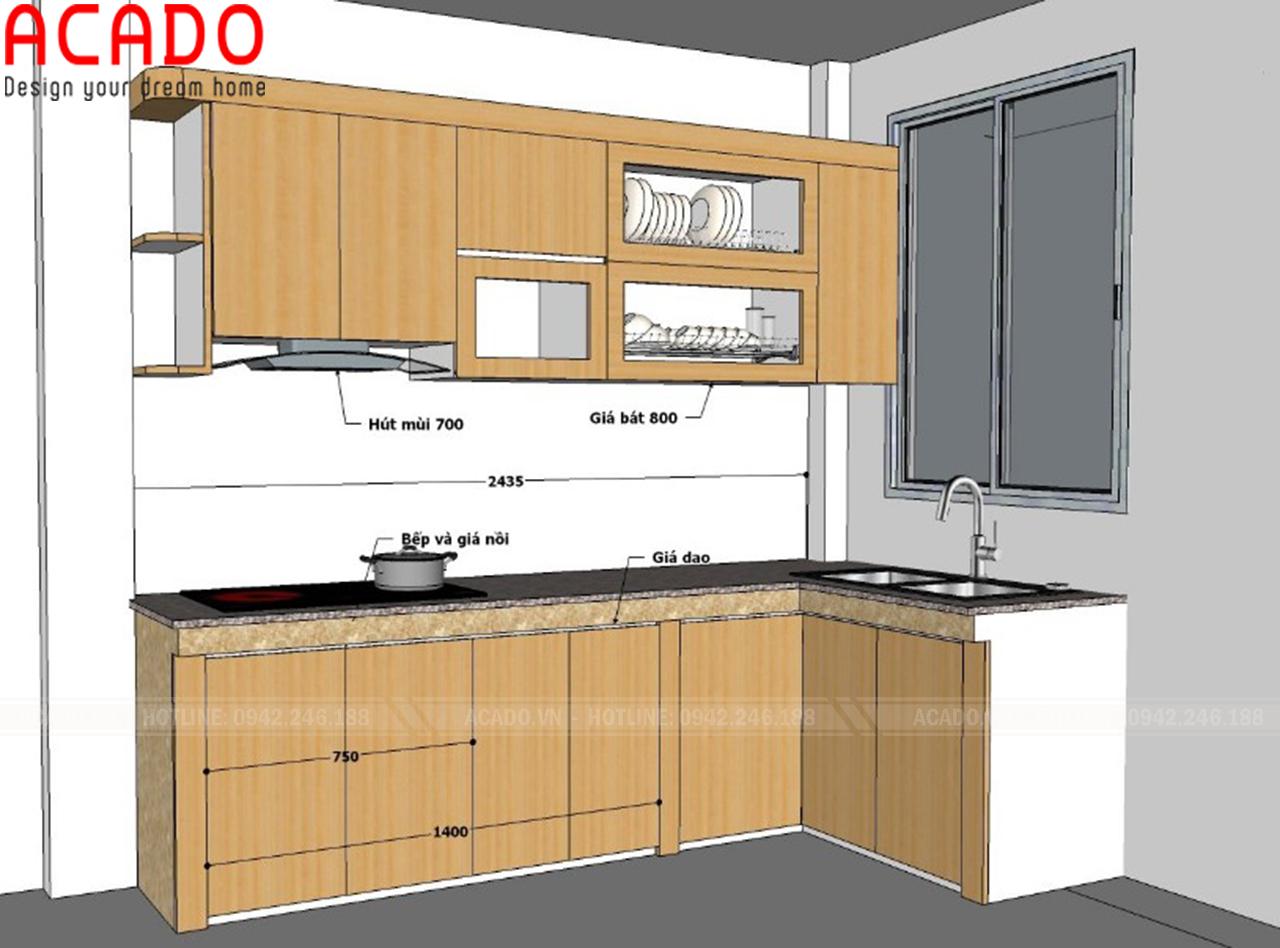 Bản thiết kế tủ bếp gia đình em Ngọc tại Vũ Tông Phan - Hà Nội