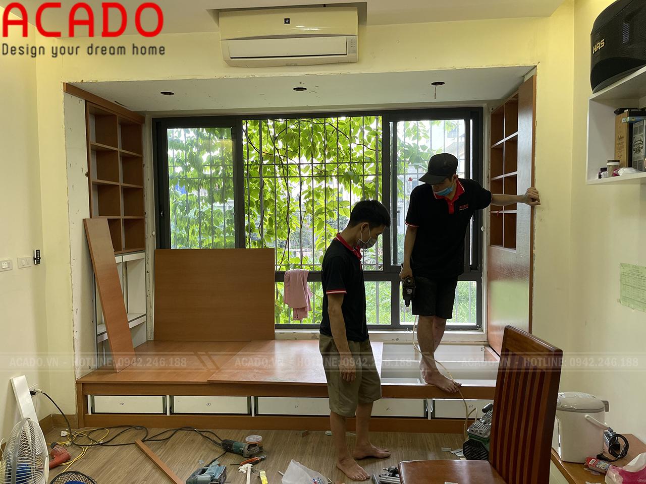 Thiết kế giường nâng sàn mang lại sự hiện đại, tiện nghi cho phòng ngủ - Thi công nội thất tại Hà Đông