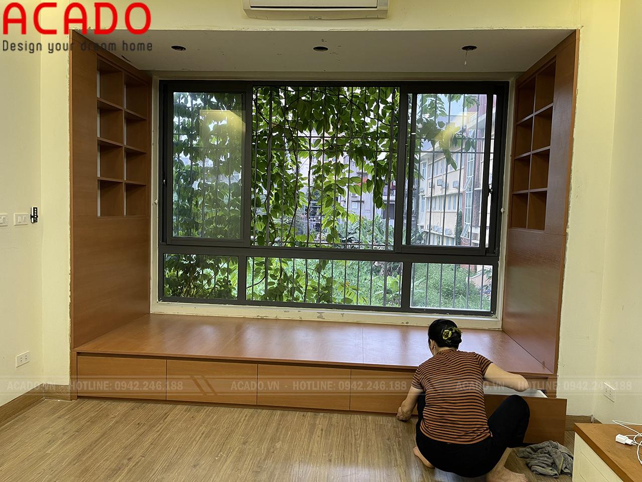 Giường ngủ gỗ Laminate vân gỗ tạo cảm giác trang nhã, hiện đại - Nội thất ACADO