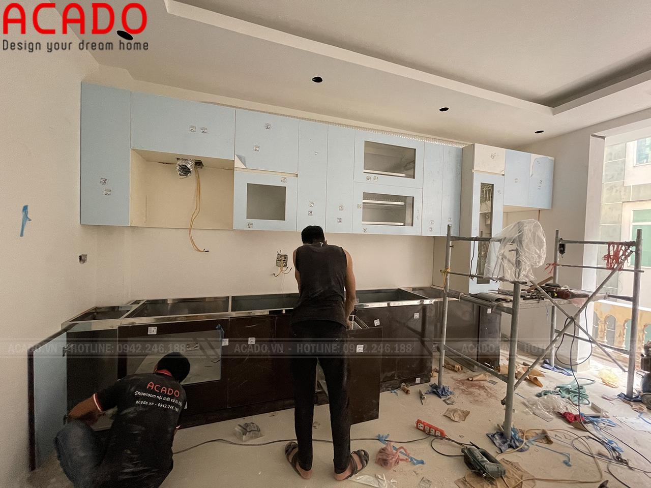 Bắt đầu quá trình thi công - Làm tủ bếp tại Văn Quán