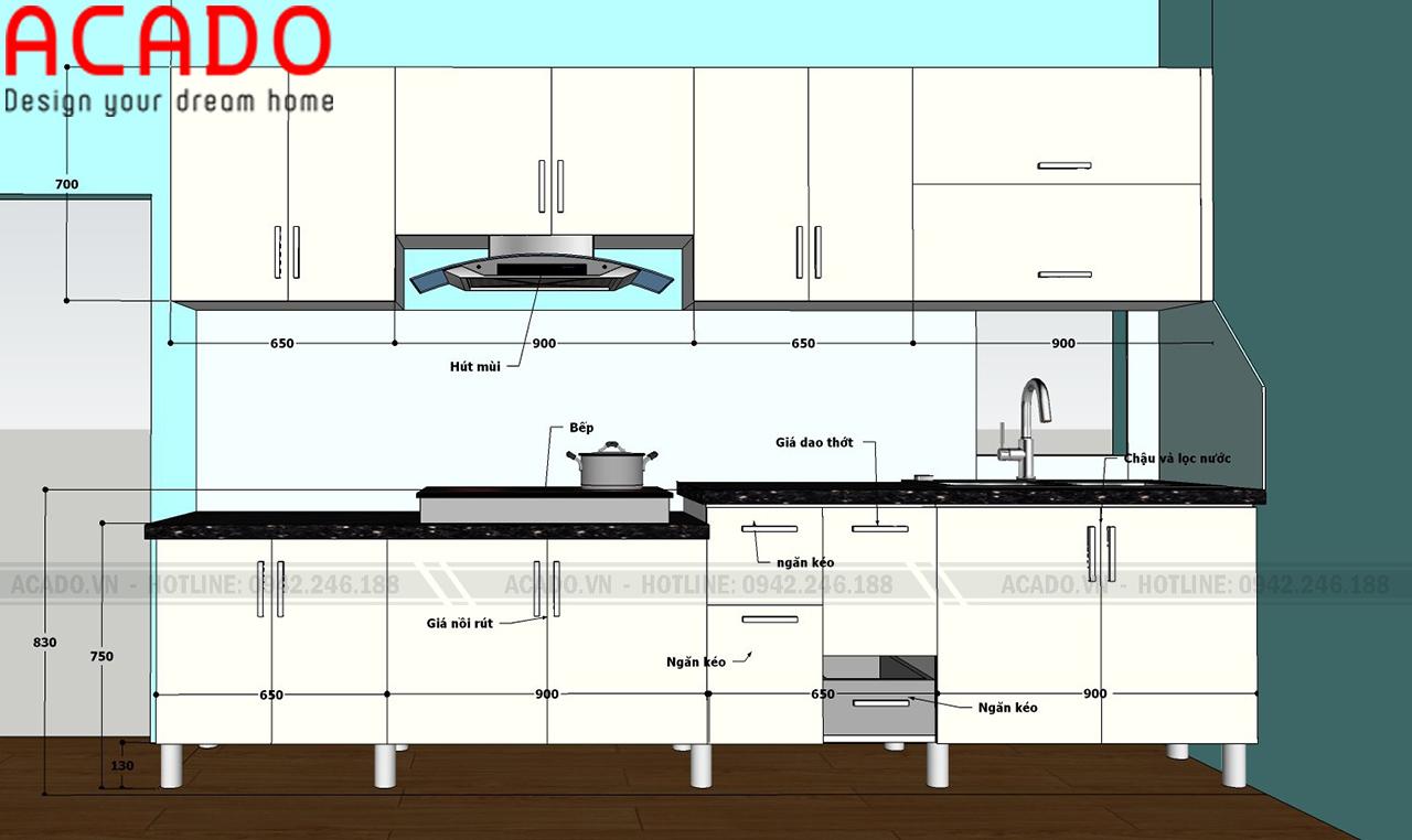 Bản thiết kế chi tiết tủ bếp cho gia đình anh Hải - Thi công tủ bếp tại Khâm Thiên