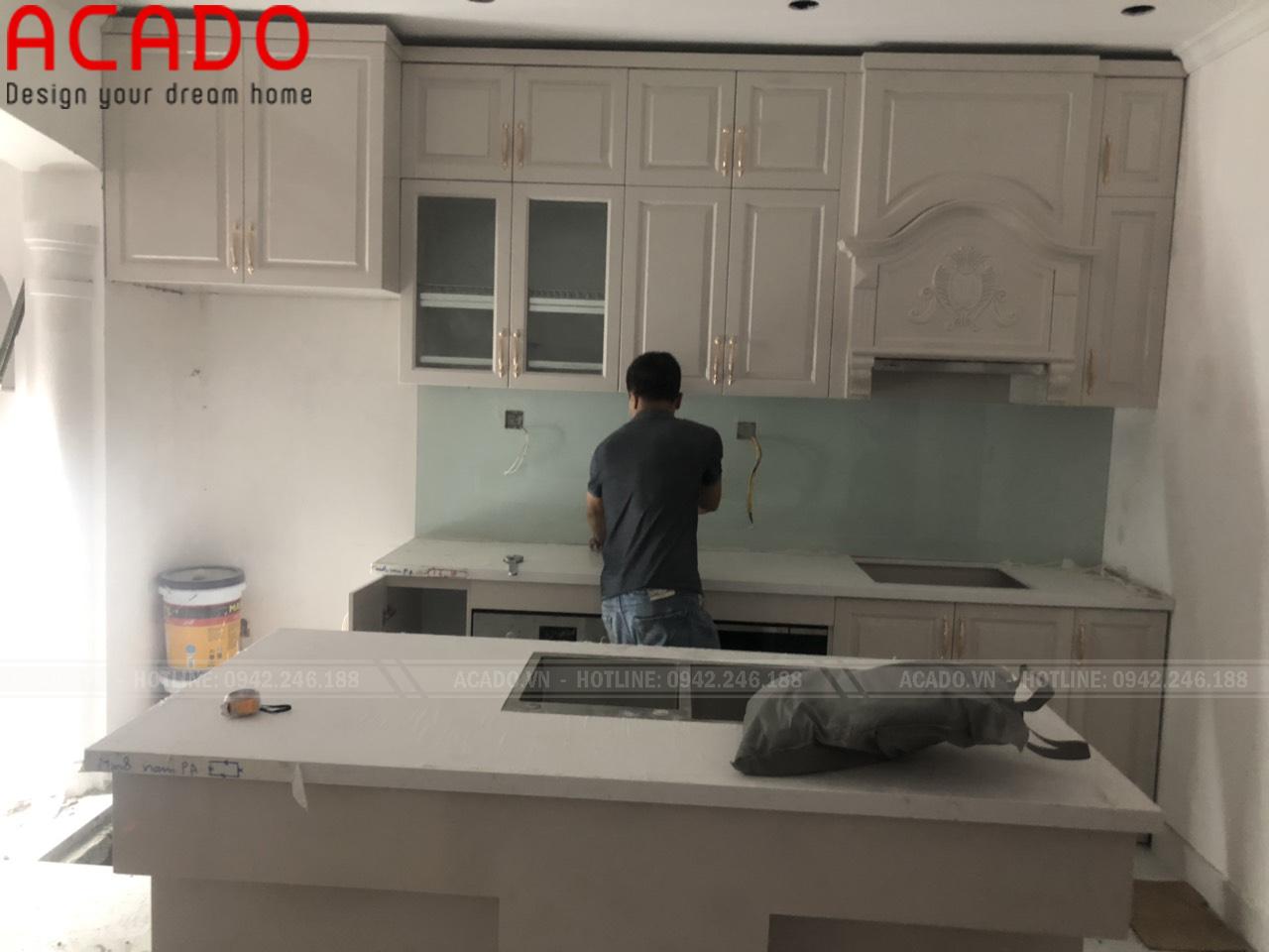 Hoàn thành thi công và bàn giao cho gia đình chị Phương - Thi công tủ bếp tại Kim Ngưu