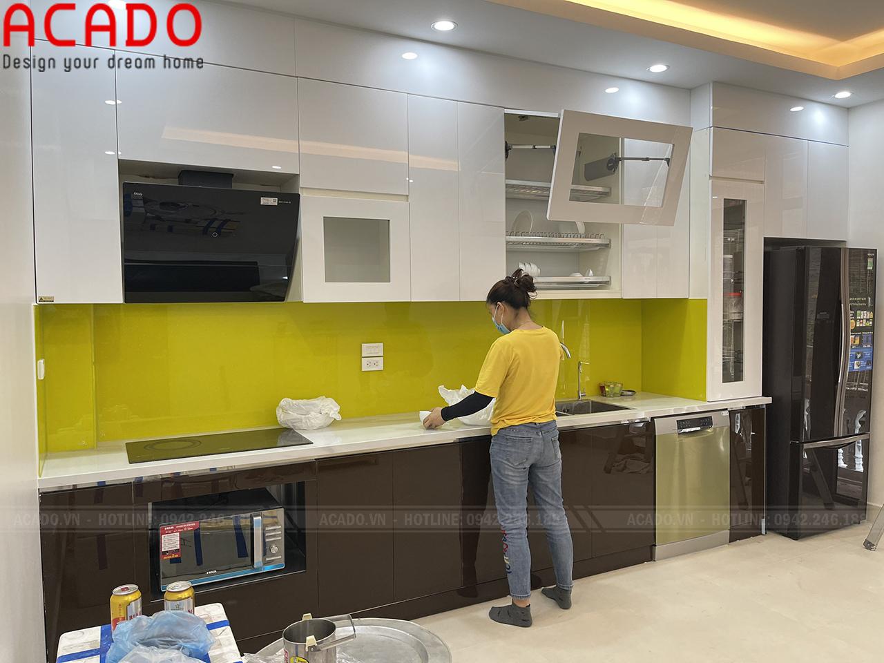 Thùng tủ bếp dưới Inox chắc chắn, bền đẹp chống nước tuyệt đối - Công trình thi công tủ bếp tại Văn Quán
