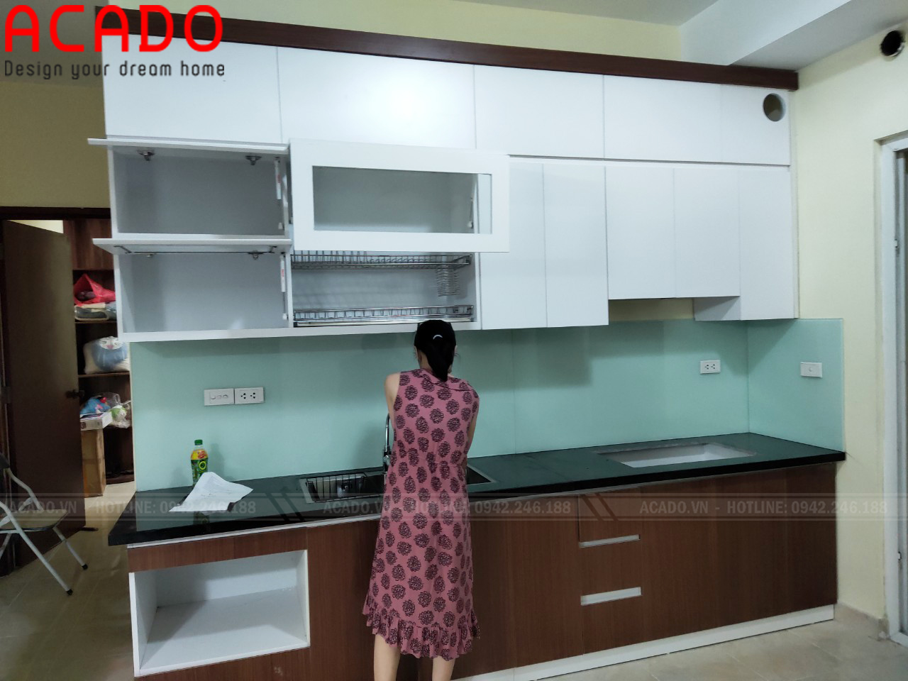 Tủ bếp dáng chữ i phù hợp với nhiều không gian bếp
