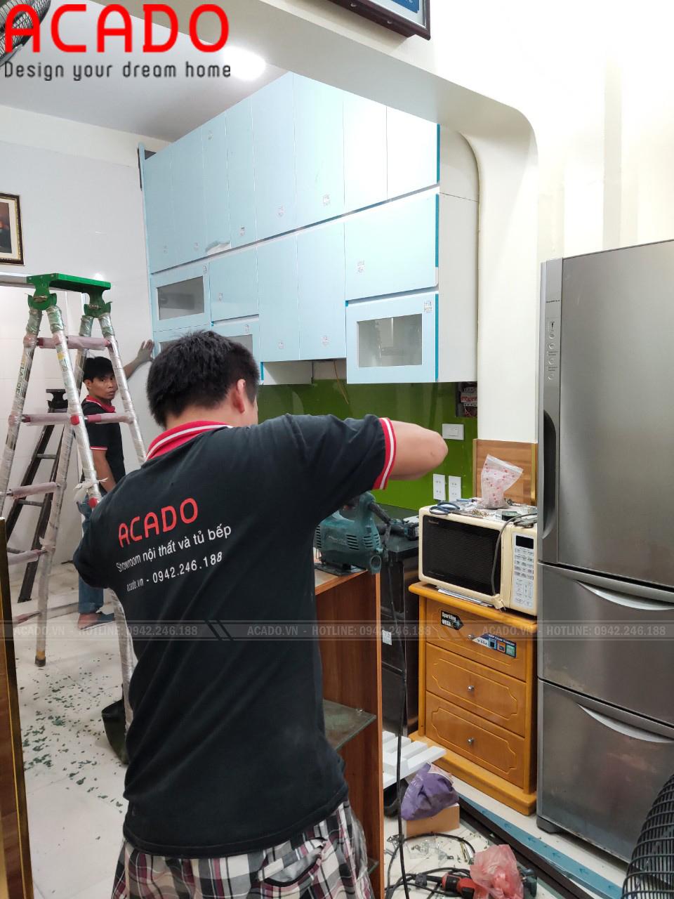 quá trình làm tủ bếp tại Lê Trọng Tấn - Thanh Xuân cho gia đình cô Bích