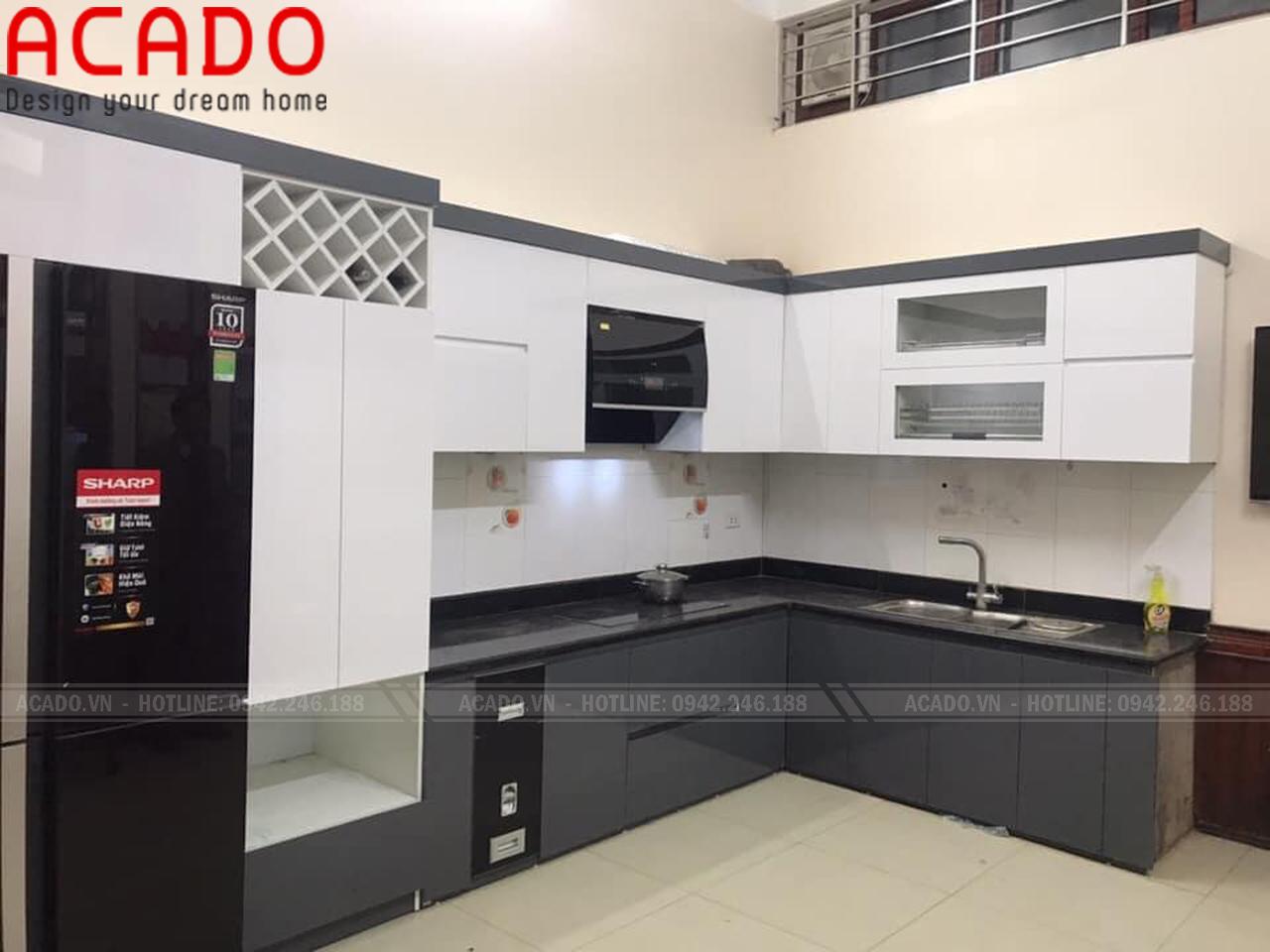 Tủ bếp chữ L thiết kế hiện đại - Nội thất ACADO