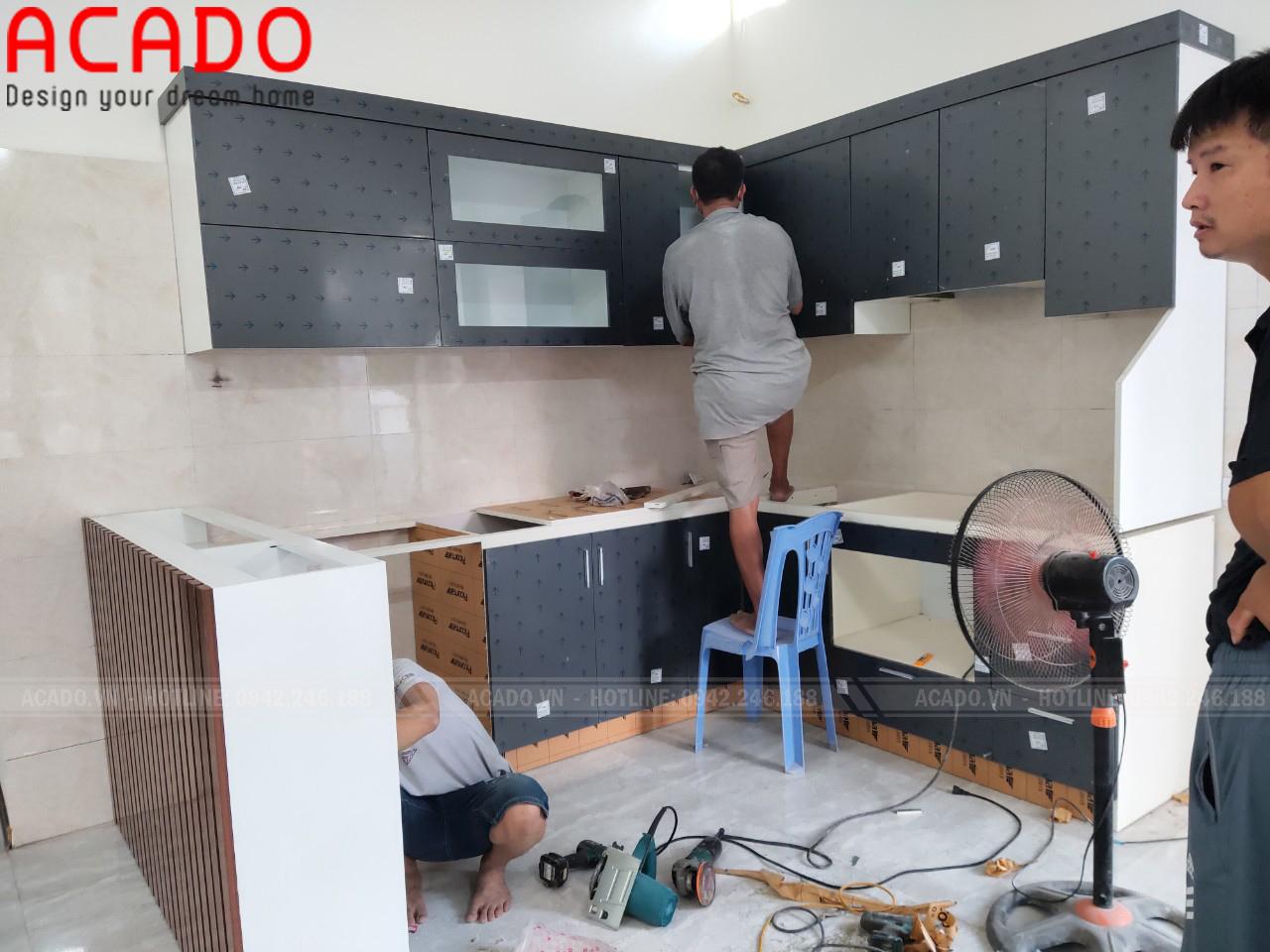 Bắt đầu quá trình thi công và lắp đặt tủ bếp tại Mê Linh - Nội thất ACADO